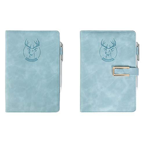 HJHJ Cuadernos 2-Pack A5 Notebook, Premium Papel Grueso, HardCover Notebook, Papel Rayado, 360 páginas del Diario, el Cielo Azul de Cuero de imitación, 5,8