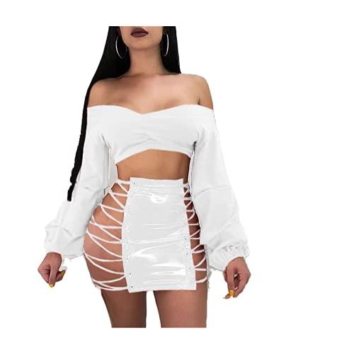 N\P Club Sexy Hueco Con Cordones Diseño Señora Mini Falda Popular PU