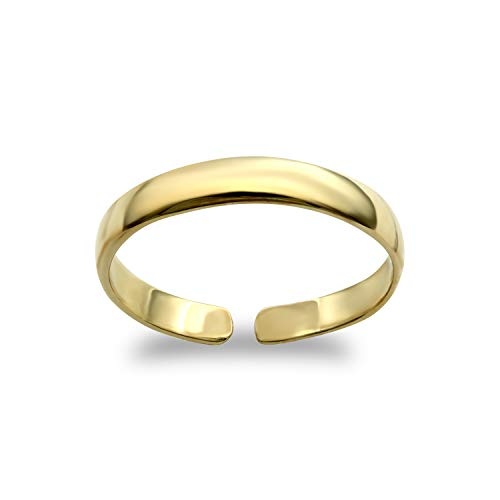 Jewelco London Ladies Solid 9ct Yellow Gold D-Shape Band Toe Ring