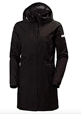 Helly-Hansen Women's Aden Waterproof Breathable Hooded Long Rain Jacket, Black, Large