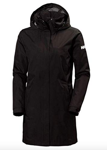 Helly-Hansen Women's Aden Waterproof Breathable Hooded Long Rain Jacket, Black, 2X-Large