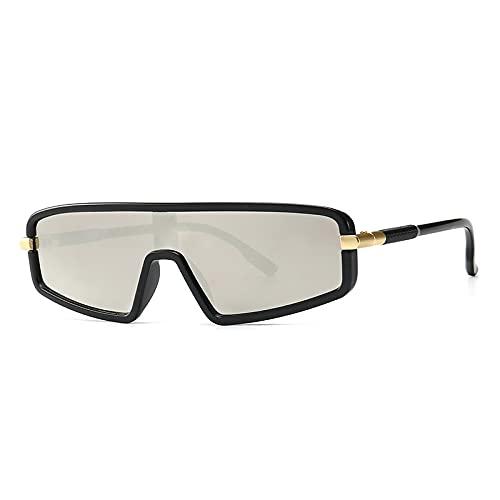 FEINENGSHUAInstyj Gafas Sol Mujer, Gafas de Sol Gato Gafas de Sol Grandes Damas de una Pieza Espejo Plana Espejo Degradado de Lentes de Lentes de Gafas de vidrios (Lenses Color : Black Silver)
