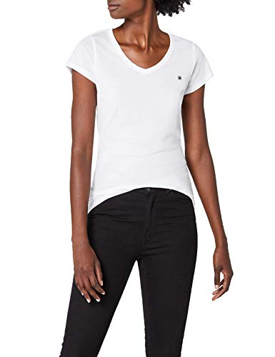 G-STAR RAW Eyben Slim V T Wmn S/s Camiseta, Blanco (White 110), 40 (Talla del fabricante: Large) para Mujer
