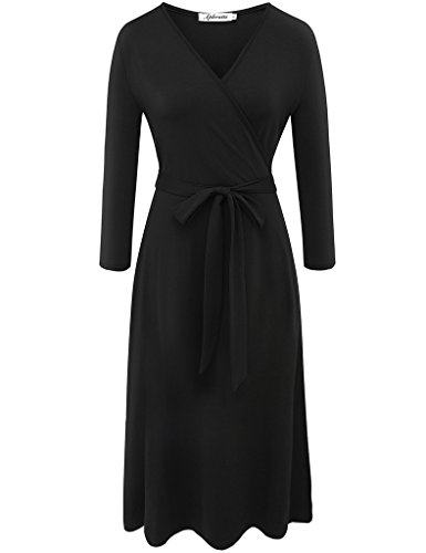 Aphratti Women's 3/4 Sleeve V Neck Wrap Front Casual Cocktail Dress Small Black