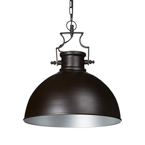 Relaxdays Hängeleuchte Industrie matt HBT ca. 146 x 40,5 x 40,5 cm Hängelampe mit großem glockenförmigen Lampenschirm im Industriestil Pendelleuchte aus Metall Pendellampe E27 bis 40W, dunkelbraun