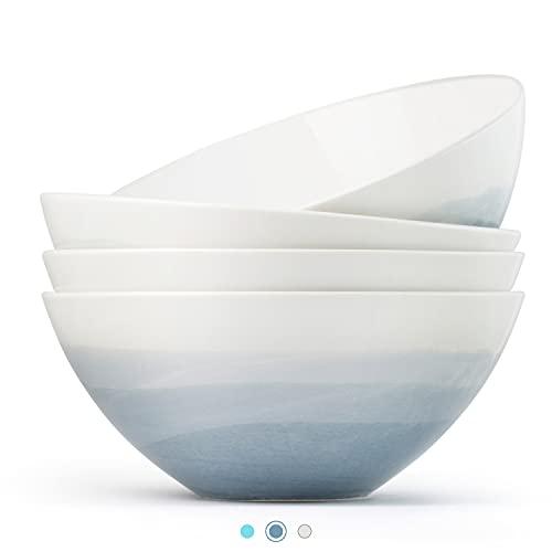 Luna 4PC 6.75', 32 ounces Calm Blue Porcelain Bowls   Microwave safe bowl l Cereal bowls   Pasta bowl   Large soup bowl   ceramic bowl   Kitchen bowls   salad bowl set