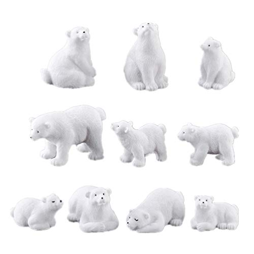 NUOBESTY 10 figuras en miniatura de oso polar con forma de animal, adornos de jardín de hadas, bonsái, para decoración de cupcakes