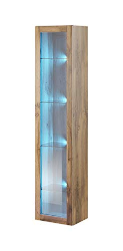 Furniture24 Hängevitrine Vigo, Vitrine, Vitrinenschrank, Hängeschrank, Wandvitrine, Wandschrank mit 1 Tür, Schrank, Wohnzimmerschrank, Grifflose, Push to Open (Wotan Eiche)