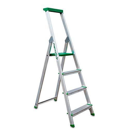 Escalibur   ES.Dom   Escalera de Aluminio   Escalera 4 Peldaños   156x43x12 cm   Uso Doméstico   Utilizada en Trabajos de Bricolaje   Taco Antideslizante   Máxima Seguridad y Confort