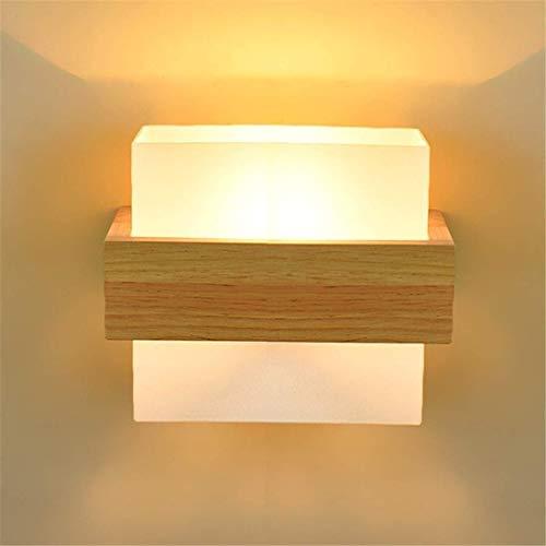 HYY-YY moderne vierkante houten wandlamp minimalistische stijl nachtkastje slaapkamer hotel woonkamer gang balkon Japanse enkele hoofd massief hout LED lamp 25 * 18 * 15CM hoge smaak