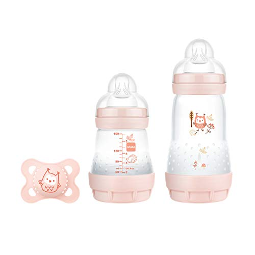 MAM Easy Start Anti-Colic Elements Starter Set S, Baby Erstausstattung mit 2 Anti-Colic Flaschen (160 ml & 260 ml) inkl Sauger Größe 1 und Schnuller, Baby Geschenk Set, ab der Geburt, Eule