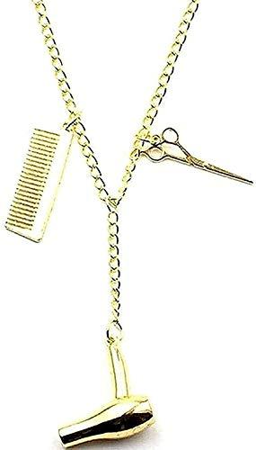 Yiffshunl Collar Moda Collar Mujer Hombre Cadena Largo Stetician Friends Gift Barbier Collar Secador de Pelo/Tijeras/Peine Colgante Collar Colgante Regalos