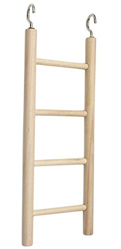 Plus Nao(プラスナオ) 鳥用おもちゃ はしご 止まり木 オウム インコ 鳥 小鳥 ペット用品 ペット用おもちゃ 飼育用品 フック付き ストレス解 - 4段【20×7cm】