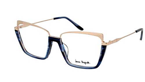 Laura Biagiotti occhiali da vista VLB.158.02 - STRIPED BLUE FRONT/END TIP TEMPLE SHINY PINK GOLD METAL PART PLASTIC FRAME