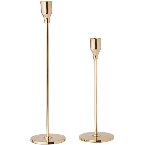 SNOWINSPRING Gold Taper Candle Holder Set Candlesticks, Fits Standard Tapered Candles, for Kitchen Table or Home Decor, 2 Pack
