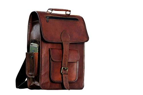 16' Vintage leather Backpack Laptop Messenger Bag Lightweight School College Rucksack Sling for Men Women