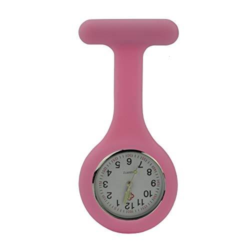 Gesundheitspflege Ansteckuhren Schwesternuhren Silikon Pflegeuhren Krankenhaus Personal Uhren 10 Farben (rosa)