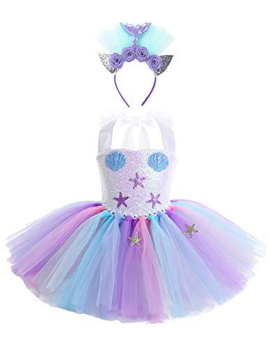 YiZYiF Vestido Tutú Princesa Sirena Niñas Disfraz Sirenita Bebés Niñas Vestido Cumpleaños Traje Lindo Fiesta Carnaval Día de Niños Actuación 2-12 Años
