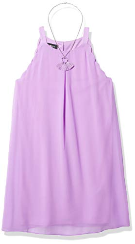 Amy Byer Girls' Scalloped Edge A-line Dress, Lavender, 8