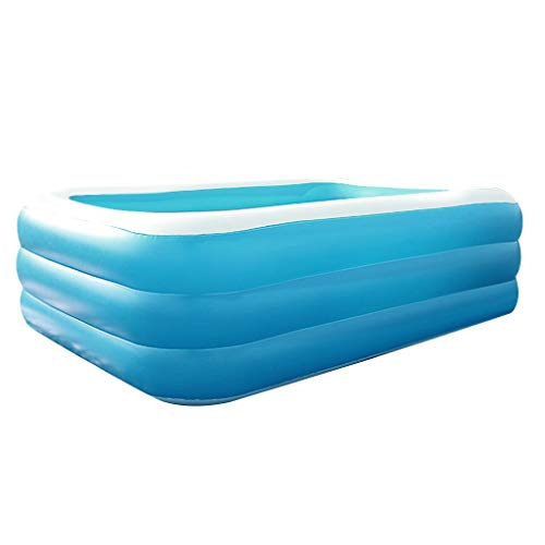 Family Inflatable Swimming Pool, Household Thicken Lounge Pool Rectangular Fishing Ocean Swimming Pool for Baby Kids Garden Summer Water Sports Party (S)