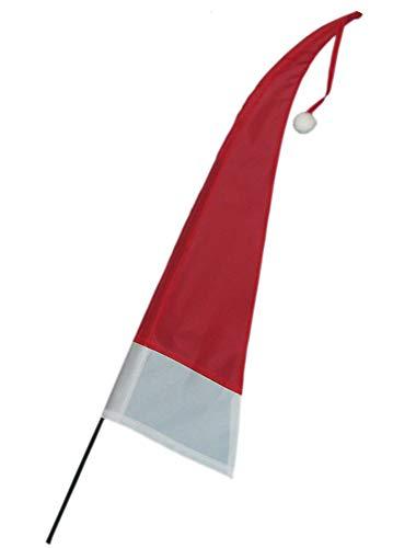 LaNero Weihnachtsfahne - Balifahne mit Fahnenstange 60 cm - Windfahne - Tischdeko - kleine Balifahne - Bommel - Umbul Asien-Fahnen - rot/Weiss Höhe 60 cm - rotes Zipfelband (12)