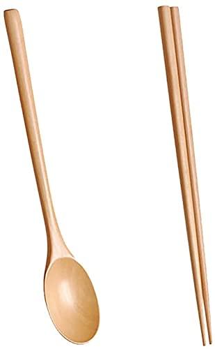 hwljxn Wooden Spoon Set, Flatware Wooden spoon Chopsticks Set Korean Wood Soup For Eating Mixing Strring Handle Reusable Flatware (Color : A)
