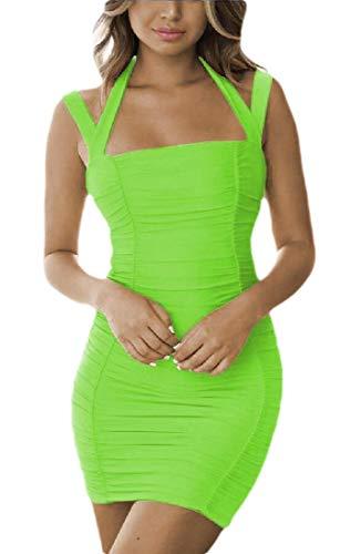 security-Kleid für Damen, ärmellos, figurbetont, gerüscht, rückenfrei, Neckholder Gr. Small, 3