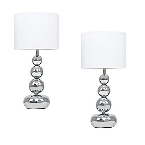 Minisun -Set de 2 Lámparas de mesa táctiles modernas - Columna de esferas apiladas - Cromo y Blanco - iluminación interior - Lámparas mesita