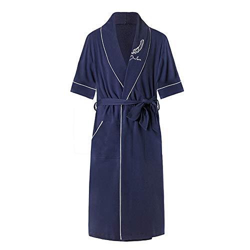 DUJUN Langarm Kimono Pyjama Bademantel Sexy Saunamantel Sommer,Morgenmantel Dünn aus Baumwolle Bademantel Nachtwäsche,Baumwolle Dünnschliff Bademantel Herren Marineblau XXXL