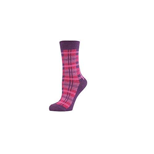 Calzini da donna con motivo scozzese, arcobaleno, 4-8 Tartan viola. Taglia unica