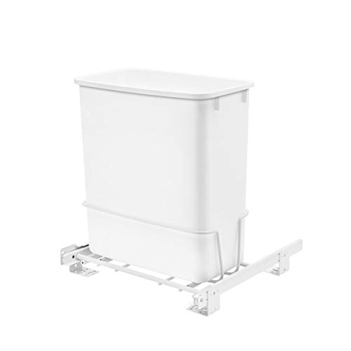 Rev-A-Shelf RV-814PB 20 Quart Undermount Vanity Kitchen Cabinet Pullout Waste Container, White