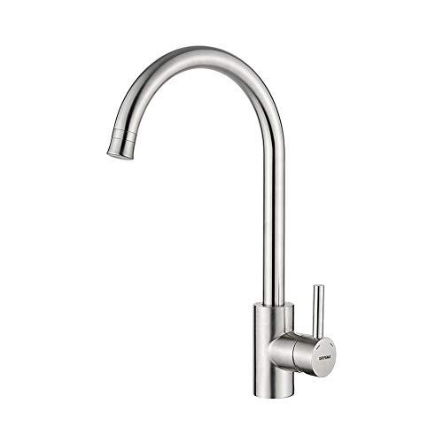 GRIFEMA Irismart - Grifo de cocina para suministro ae agua a baja presión, mezclador de fregadero, Acero