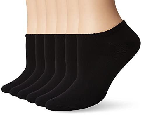 Hue Women's 6-Pack Microfiber Liner Socks,Black,One Size (U2478)