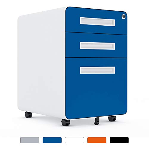 Greenvelly 3 Drawer File Cabinet on Wheels, Rolling Filing Cabinet with Lock, Locking Metal File Cabinets with Legal/Letter /A4 Size for Office and Home, Under Desk, Blue