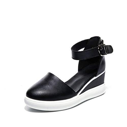 Shengyang, sandalias de tacón alto, sandalias de mujer, zapatos blancos, tacón de pendiente, aumento, forro de piel de cerdo, zapatos transpirables, casuales, puntillas cerradas-Black||34