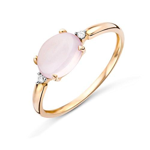 Miore Anillo de mujer de 0,02 quilates, diamante de compromiso, con piedra preciosa/piedra natal, cuarzo rosa y 2 diamantes brillantes de oro rosa de 9 quilates/375, dorado., Cuarzo rosa; diamantes,