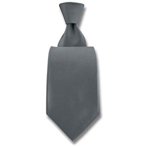Robert Charles. Cravate. Satin, Soie. Gris, Uni. Fabriqué en Italie.