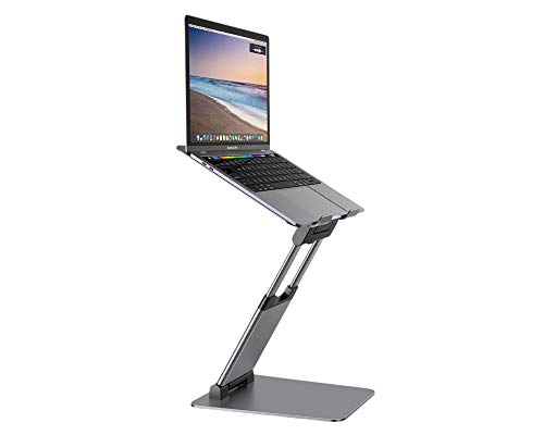 """Ergonomic Laptop Stand for Desk Adjustable Height 12"""" to 20"""" - MacBook and Tablet Holder Laptop Riser and Foldable Portable Computer Stand - Supports Tablets and Laptops 10""""-17"""" - Space Gray"""