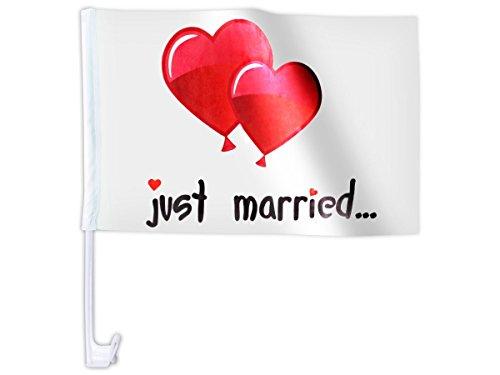 Hochzeitsfahne Auto 'Just Married' Auto Fahne (Afl-10b) - 45 c x 28 cm - hält bis zu 100 km/h
