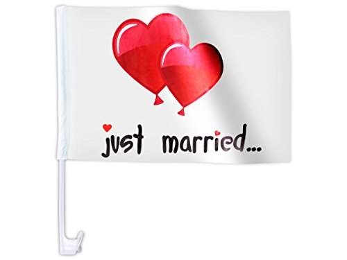 10 stuks. Alsino autovlag AFL-10B autovlag voor de bruiloft 'Just Married Ballon' auto vlag vlag vlag