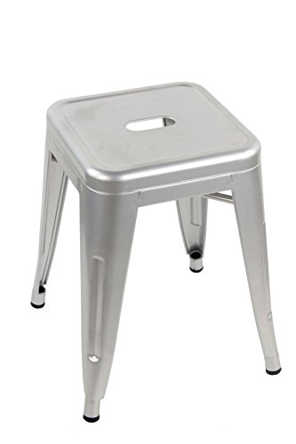 ARREDinITALY - Tabouret bas empilable en métal style industriel Tolix - Réplique en métal gris métallisé