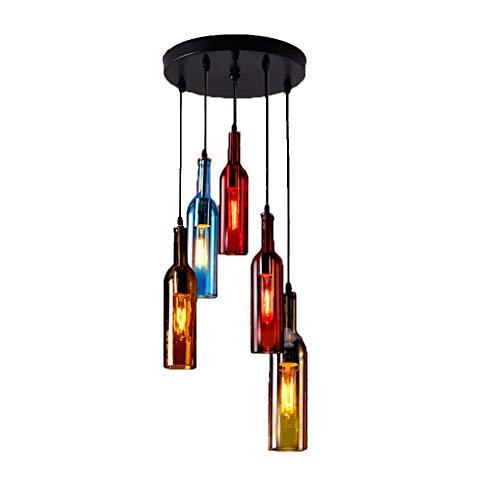 LED Glasflasche Pendelleuchte, Vintage Industriell Wind Hängeleuchte Hängelampe Pendellampe mit Bunt Glas Wein-Flasche Lampenschirm Retro Esszimmerleuchte Kronleuchter Höhenverstellbar (5-Kreis)