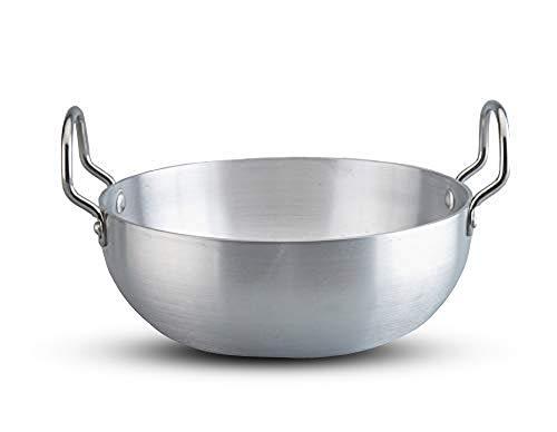 Aluminium Kadai,Size No-13,Big Kadai,Induction Base Kadai,Kadhai,Aluminium Kadai,Aluminum Indian Kadai,Frying Pan,Color-Silver