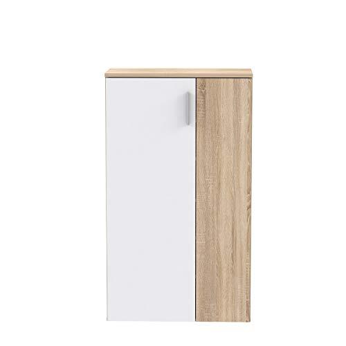 FORTE Schuhschrank klein, Holzwerkstoff, Sonoma Eiche Dekor + Weiß, 68.90 x 34.79 x 120,41 cm