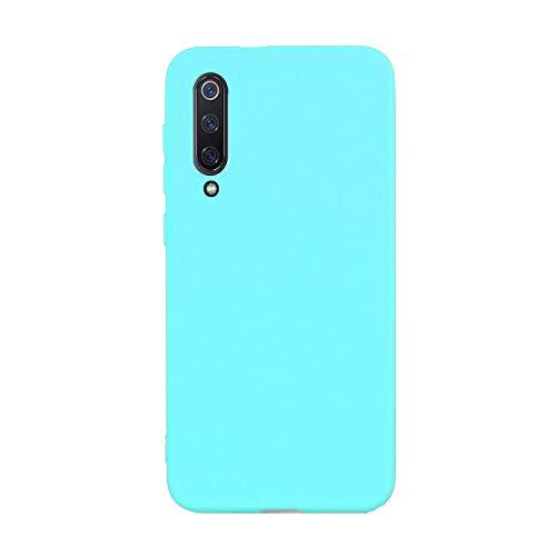 CUZZCASE Funda para Xiaomi Mi 9 SE+{Protector de Pantalla de Vidrio Templado} Carcasa Silicona Suave Gel Rasguño y Resistente Teléfono Móvil Cover-Azul Claro