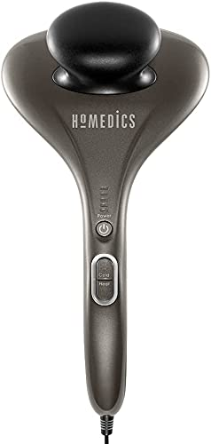 Dual Temp Handheld Percussion Massage | 5 Speed Settings, 3 Interchangeable Nodes, Hot or Cold Massage | Sports Recovery, Muscle Kneading for your Back, Shoulders, Feet, Legs, Head & Neck | HoMedics