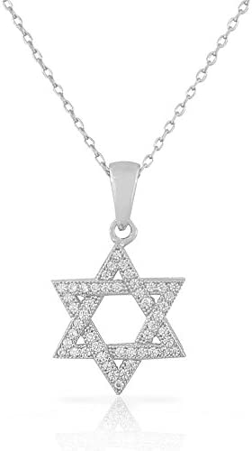 925 Sterling Silver Jewish Star of David White CZ Pendant Necklace