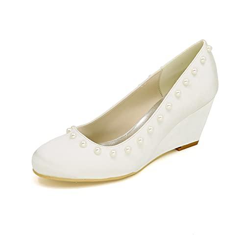 Zapatos De Boda De Satén con Puntera Cerrada Zapatos De Dama De...