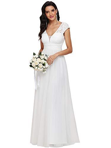 Ever-Pretty A-línea Vestido de Novia Escote en V Mangas Casquillo con Encaje Imperio Largo para Mujer Blanco 46
