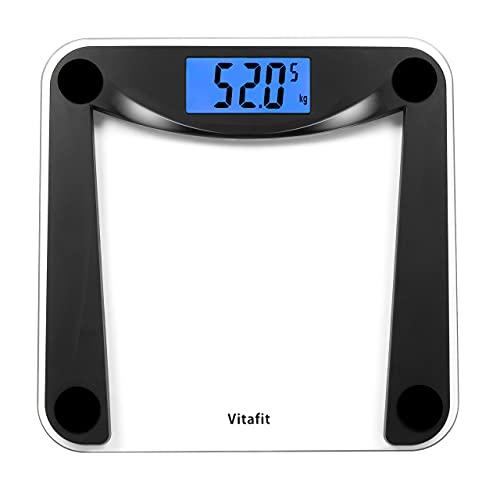 Vitafit Bilancia Pesapersone Digitale Alta Precisione con Tecnologia Step-on,Bilancia Pesa Persona Digitale con Grande display a LCD,5kg-180kg,Nero